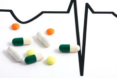 Pills lying on ECG diagram. Macro of pills lying on ECG diagram Royalty Free Stock Image