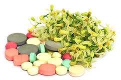 Pills made from medicinal neem flower and leaves Royalty Free Stock Photos