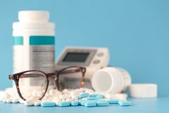 Pills, medical background stock photography