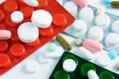 Pills and medical bottle Stock Photo