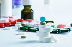 Pills and medical bottle Stock Photography