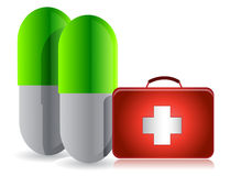 Pills and medical kit Stock Images