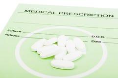 Pills on medical prescription Royalty Free Stock Photo