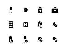 Pills, medication icons on white background. Royalty Free Stock Photo