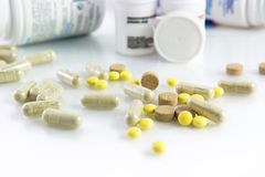 Pills and medicinal flacons Stock Image