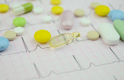Pills Medicine on cardio diagram Stock Photo
