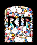 Pills Medicine RIP. RIP - tombstone built of pills and capsules as a symbol for overdose, excessive amount or incompatibility of drugs Royalty Free Stock Image