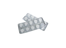 Pills (medicine). Two packs of medicines on a white background Stock Images