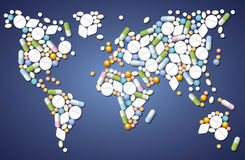 Pills Medicine Worldwide Stock Photography
