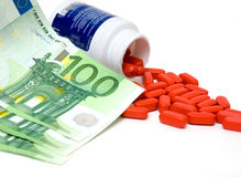 Pills and money royalty free stock photos