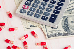 Pills, Money and calculator Royalty Free Stock Image