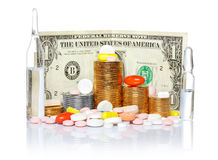 Pills and money concept Royalty Free Stock Photos