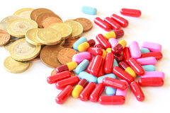 Pills and money Stock Photography