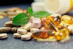 Pills and multivitamins Stock Photo