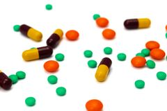 Pills och kapslar arkivfoton