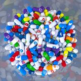 Pills Of Various Types And Sizes In A Bottle Bearing The Logo Of The Most Famous Social Networks Royalty Free Stock Photo