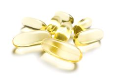 Pills of Omega-3 supplement Stock Photo