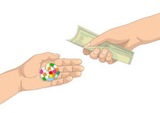 Pills in one hand and money in another hand Stock Image