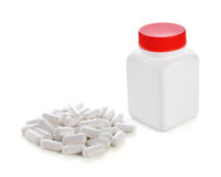 Pills out of bottle Royalty Free Stock Photography