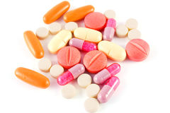 Pills over white Stock Photo
