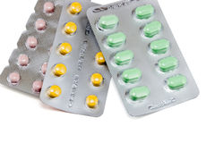 Pills packed in blisters Royalty Free Stock Image