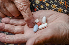 Pills on palm Royalty Free Stock Photos