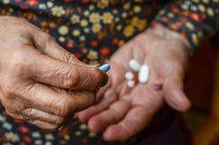 Pills on palm Stock Photo