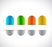 Pills on a paper pocket. illustration Royalty Free Stock Image