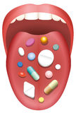 Pills Patient Tongue Mouth Consumption Royalty Free Stock Photography