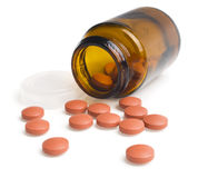 Pills an pill bottle Stock Images