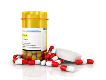 Pills an pill bottle Royalty Free Stock Photo