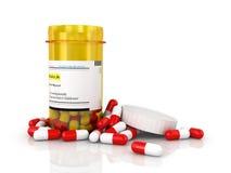 Pills an pill bottle Royalty Free Stock Photo