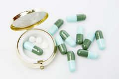Pills and pill box Royalty Free Stock Photography