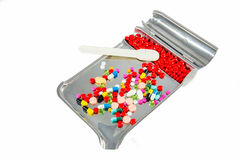 Pills in pill counting tray Royalty Free Stock Photo