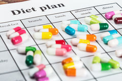 Pills on a plan of reception during the day Royalty Free Stock Image