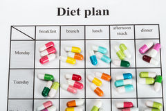 Pills on a plan of reception during the day Stock Photo