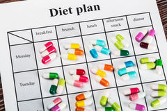 Pills on a plan of reception during the day Royalty Free Stock Photos