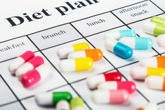 Pills on a plan of reception during the day Royalty Free Stock Images