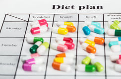 Pills on a plan of reception during the day Stock Photography