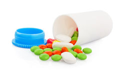 Pills in plastic jar Stock Photo