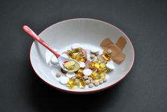 Pills plate Royalty Free Stock Photography