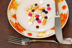 Pills on plate Stock Photography