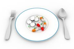 Pills on the plate Stock Photography