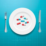 Pills on the plate Royalty Free Stock Photos