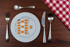 Pills in a plate Royalty Free Stock Image