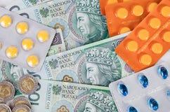 Pills and polish zloty bills Royalty Free Stock Photography