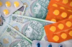 Pills and polish zloty bills Royalty Free Stock Photos