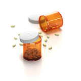 Pills poured out of a package. On white vector illustration