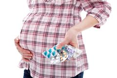 Pills for pregnant woman Stock Images