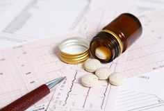 Pills prescribed to prevent heart disease Stock Image